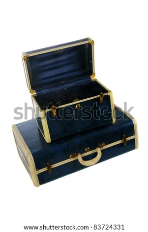 1960's era vintage blue luggage, isolated on white with room for your text