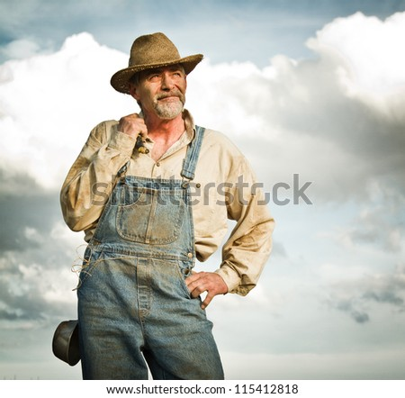1930s farmer looking at the Sun