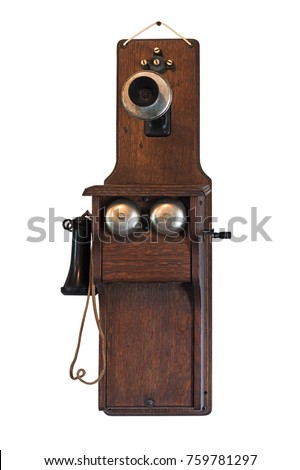 1800s Fiddleback Wall Telephone - isolated on white