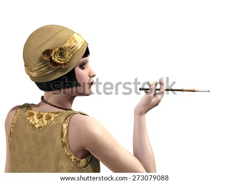 1920's flapper in profile with a cigarette holder - 3D render. - stock photo