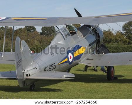 1930s Gloster Gladiator ex-RAF fighter biplane propeller at the Shuttleworth Collection,Bedfordshire,UK. taken 26/09/2012 - stock photo
