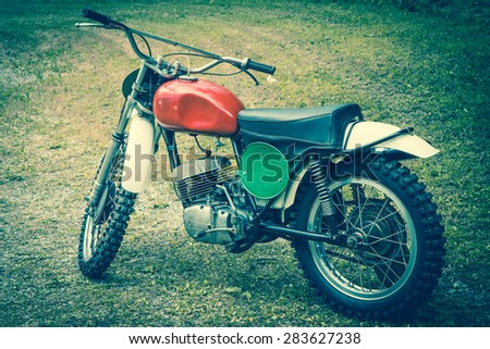 70's motocross motorbike - stock photo