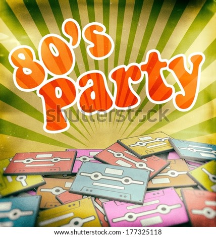 80s music party vintage poster design. Retro concept on old audio cassettes - stock photo