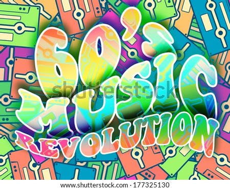 60s music revolution retro concept. Vintage poster design - stock photo