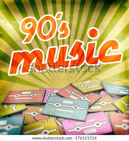 90s music vintage poster design. Retro concept on old audio cassettes - stock photo