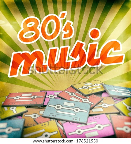 80s music vintage poster design. Retro concept on old audio cassettes - stock photo