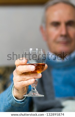 70s Old  making a toast(drinking) - stock photo