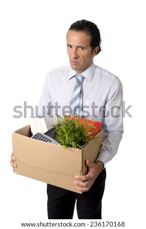 40s or 50s years old depressed senior businessman carrying cardboard box office belongings fired from work sad and desperate after loosing job isolated on white background