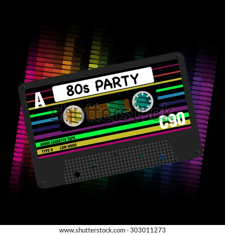80s Party Background - Illustration of Retro Audio Cassette Tapes and Equalizer