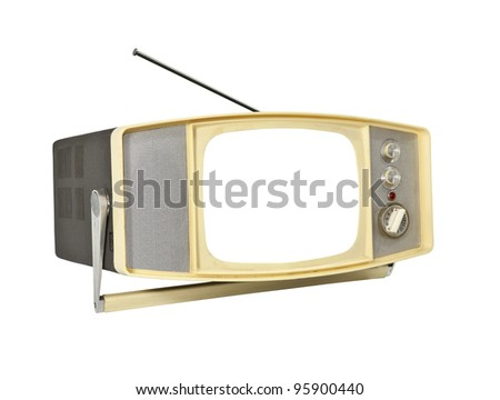 1960's Portable TV with blanked screen, handle stand and antenna.