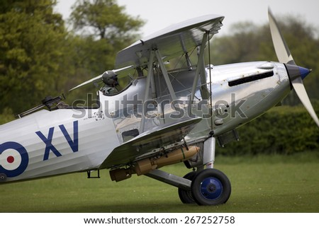 1930's RAF Hawker Hind fighter biplane aircraft at a Shuttleworth Collection air display at Old Warden airfield, Bedfordshire ,UK. taken 26/09/2012