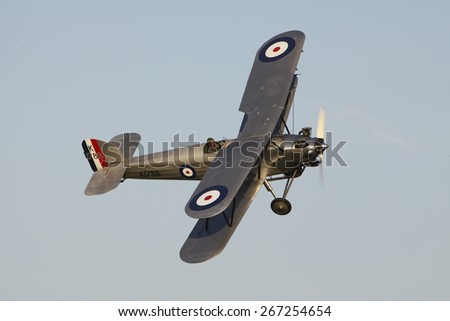 1930's RAF Hawker Hind fighter biplane aircraft at a Shuttleworth Collection air display at Old Warden airfield, Bedfordshire ,UK. taken 26/09/2012 - stock photo