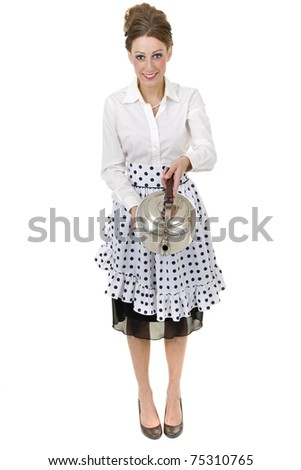 1950s retro and vintage like happy housewife pours a kettle