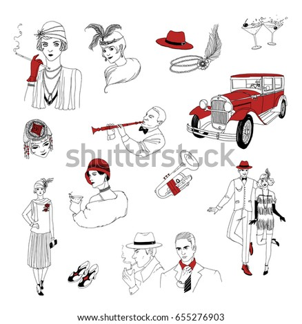 Search additionally Stock Photography Retro Car Sketch Image12367832 further Search P2 also Set Of Linear Thin Line Art Deco Retro Vintage Design Elements With Frame Corner Vector 13573401 as well Roaring 20s Clipart Free. on gatsby car illustration