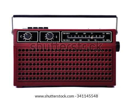 1980s retro radio, studio isolated front side