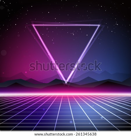 80s Retro Sci-Fi Background - stock photo
