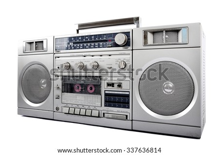 1980s Silver retro, boom box and headphone isolated on white. right side - stock photo