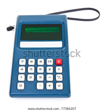 1970's vintage calculator with carrying strap on a white background.
