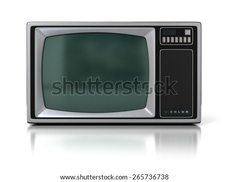 80s Vintage Portable Television Set (Color TV) Isolated on White Background. 3D Illustration - stock photo