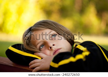 sad lonely child - stock photo