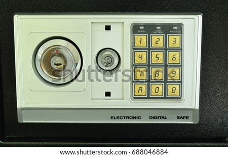 safe box with keyhole and security electronic number for double safety system