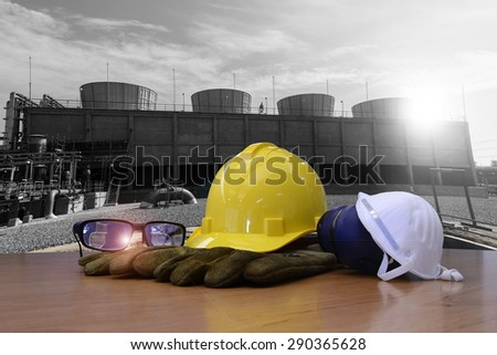 safety equipment for work outdoor at utility construction site. - stock photo
