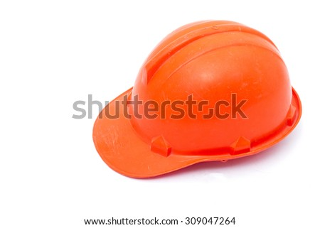 safety helmet hard hat, tool protect worker of danger in construction industry, isolated on white background - stock photo