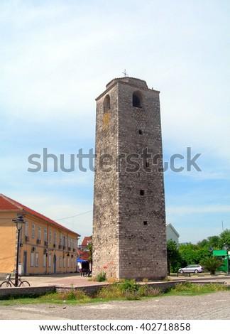 Sahat Kula The Clock Tower 17th century historic building Old Turkish Town Stara Varos Podgorica Montenegro             - stock photo