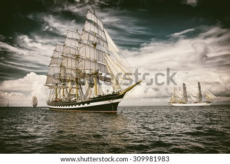 Sailing ship.  Toned image and blur. Retro style postcard. Sailing. Yachting. Travel