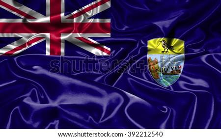 Saint Helena silk flag - stock photo