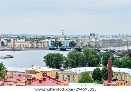 SAINT-PETERSBURG, RUSSIA - JUNE 19, 2015. Bird's eye view panorama of Vasilyevsky Island in Saint Petersburg, Russia with old historical buildings and rostral columns