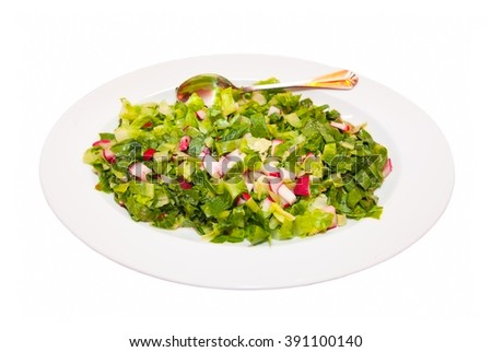 Salad of radish and fresh lettuce with olive oil isolated on white background  - stock photo