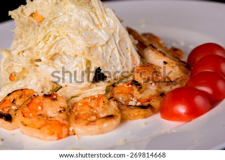 Salad with chinese cabbage with shrimps  - stock photo
