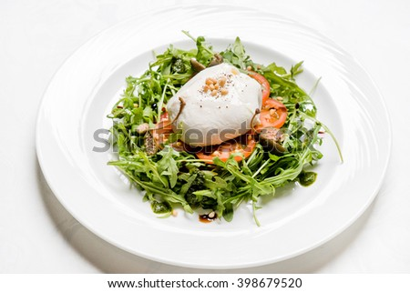 salad with poached egg - stock photo