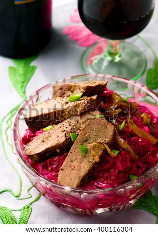 Salad with veal  liver  and beet.selective focus
