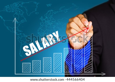 """""""Salary"""" text with hand of young businessman point on virtual graph red line and bar showing on increasing with background -business, finance, salary, crisis, and development concept - stock photo"""