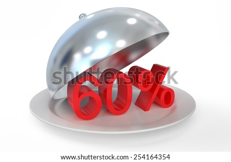 60 %,  sale and discount concept  isolated on white background - stock photo