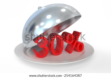 30 %,  sale and discount concept  isolated on white background