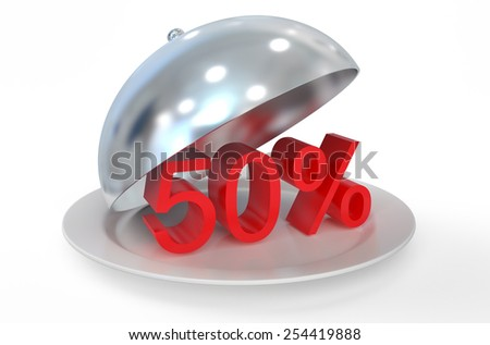 50 %,  sale and discount concept  isolated on white background - stock photo