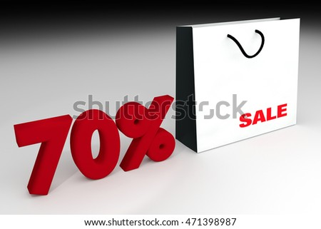 70% sale off promotion for product selling,white shopping bag and text ??sele?� with text number 70%,summer sale,end of season,Shock price,ed rendering illustration