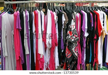 Sales of summer clothing on the market. Closeup.