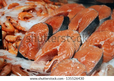 Salmon and shrimps at fish market