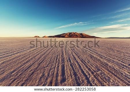 salt flat in Bolivia - stock photo