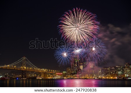2015 San Francisco New Year's Eve Fireworks - stock photo