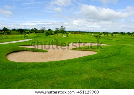 sand bunker in golf course landscape