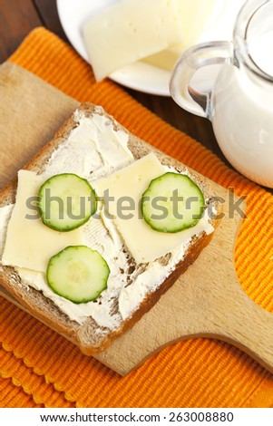 sandwich with cheese and cucumber - stock photo