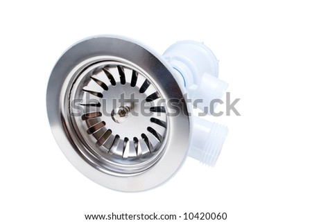 sanitary siphon isolated  on white background .Close-up