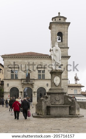 SANMARINO,ITALY-APRIL 05-Tourists visiting the attractions of the country on April 05,2014 in SanMarino