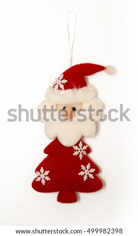 Santa Claus, Christmas tree decoration isolated on white. Santa Claus from felt. Photography of Santa Claus for collage