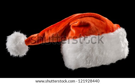 Santa Claus hats on a black background